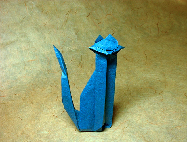Origami Cat by Max Hulme Folded from a square of Vietnamese wrapping-paper by Gilad Aharoni on giladorigami.com