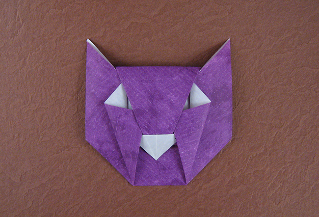 Origami Cat mask by David Petty folded by Gilad Aharoni on giladorigami.com