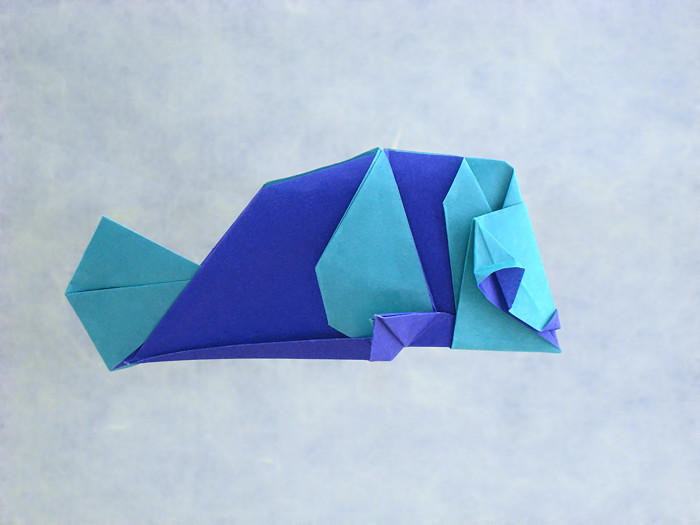 Origami Cheerful fish by Katrin Shumakov folded by Gilad Aharoni
