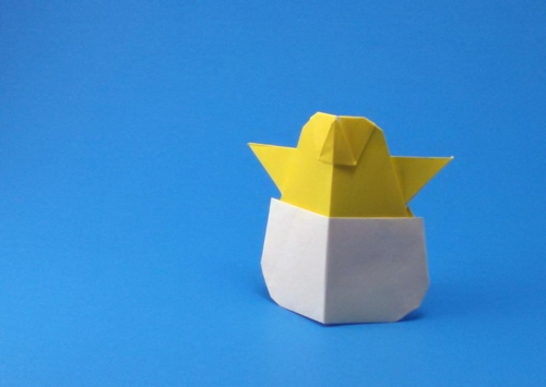 Origami Chick in egg by Niwa Taiko folded by Gilad Aharoni