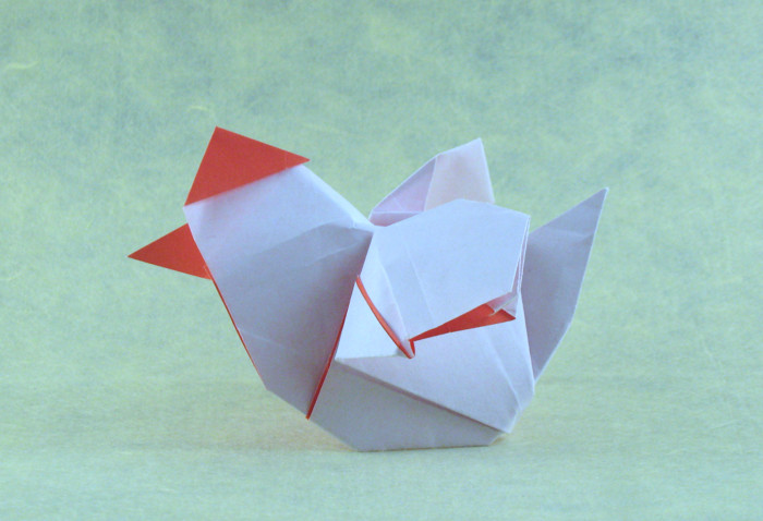 Origami Chicken by Andrew Neehall folded by Gilad Aharoni
