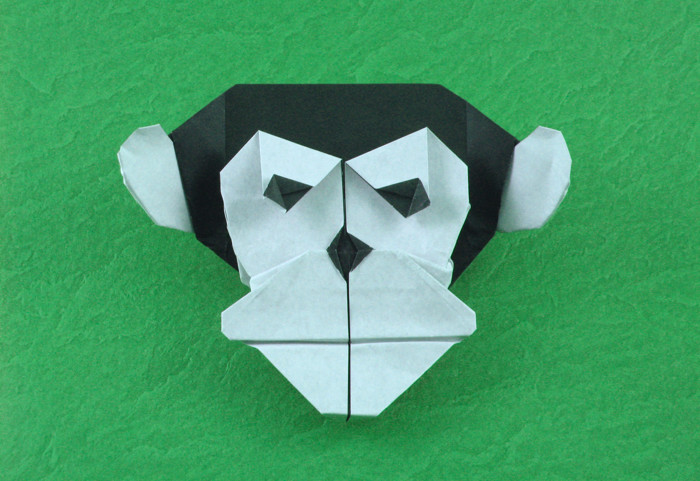 Origami Chimpanzee mask by Quentin Trollip folded by Gilad Aharoni