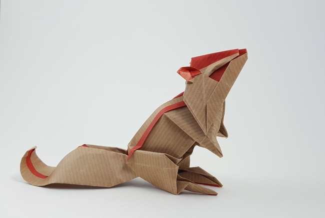 Origami Chipmunk by Katsuta Kyouhei Folded from 2 squares of Kraft origami paper by Gilad Aharoni on giladorigami.com