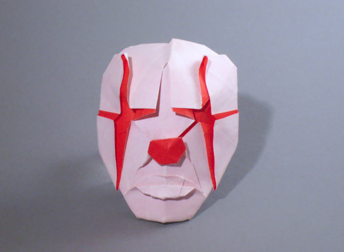 Origami Clown mask by Hideo Komatsu folded by Gilad Aharoni