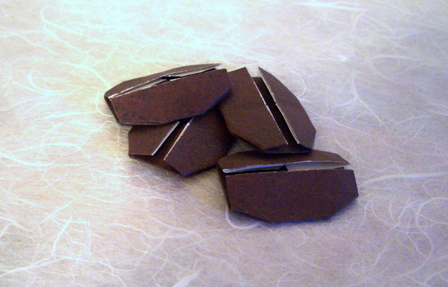 Origami Coffee bean by Toshikazu Kawasaki folded by Gilad Aharoni on giladorigami.com