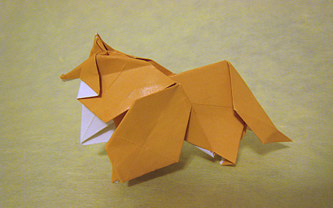 Origami Collie by Watanabe Dai folded by Gilad Aharoni on www.giladorigami.com