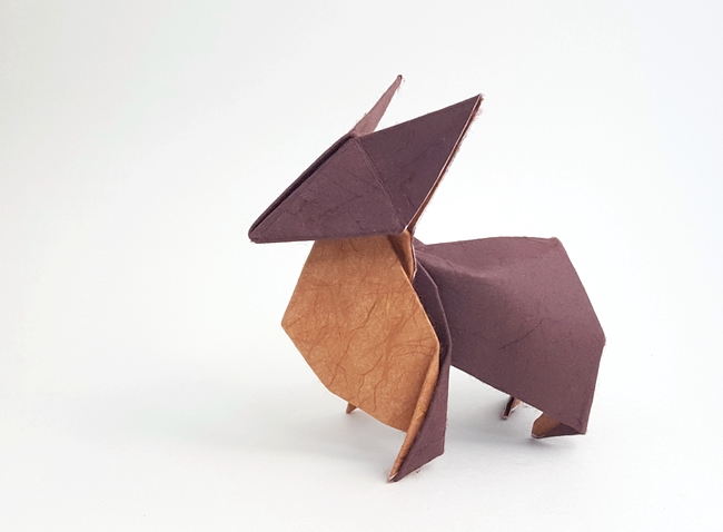 Origami Corgi by David Brill Wet folded from a rectangle of double mulberry paper by Gilad Aharoni on giladorigami.com