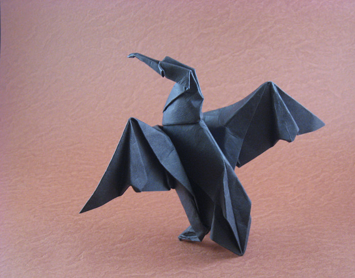 Origami Cormorant by Michael G. LaFosse Wet-folded from a square of art paper by Gilad Aharoni on giladorigami.com