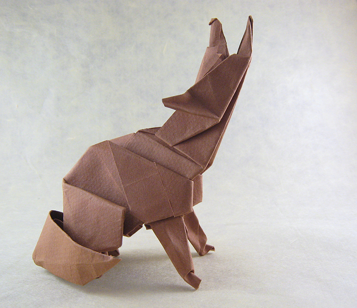 Origami Coyote by Roman Diaz folded by Gilad Aharoni