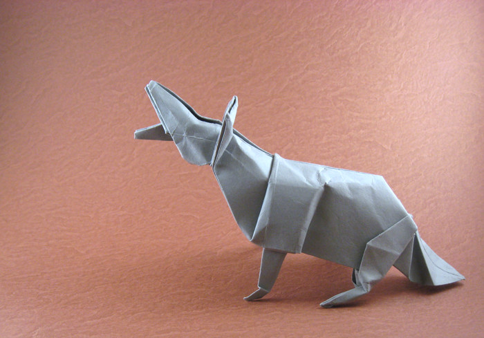 Origami Coyote by John Montroll Wet-folded from a square of card-stock by Gilad Aharoni on giladorigami.com