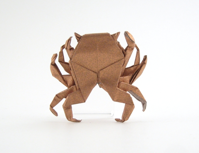 Origami Crab by Peter Engel Folded from a $-sized rectangle of Nicolas Terry's tissue-foil by Gilad Aharoni on giladorigami.com