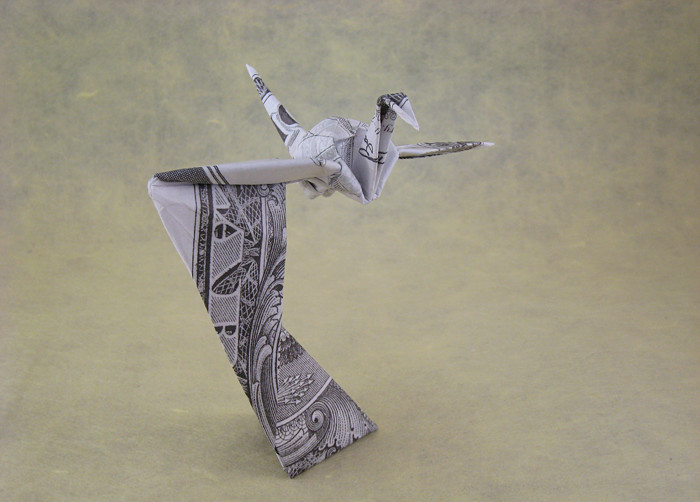 Origami Crane on a stand by David Shall folded by Gilad Aharoni