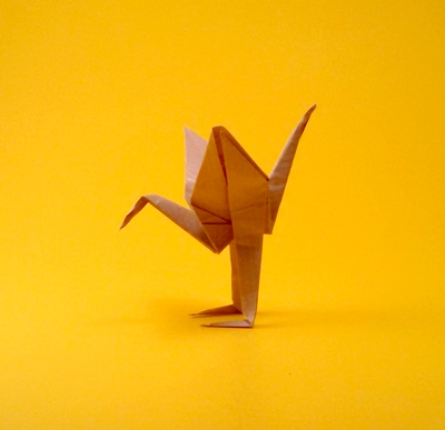 Origami Crane with legs by Juan David Herrera Chartas folded by Gilad Aharoni