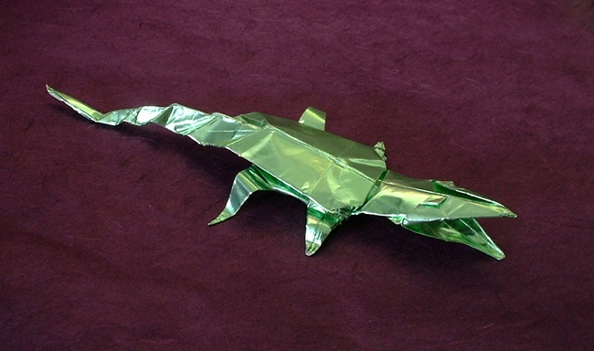 Origami Crocodile by John Montroll folded by Gilad Aharoni