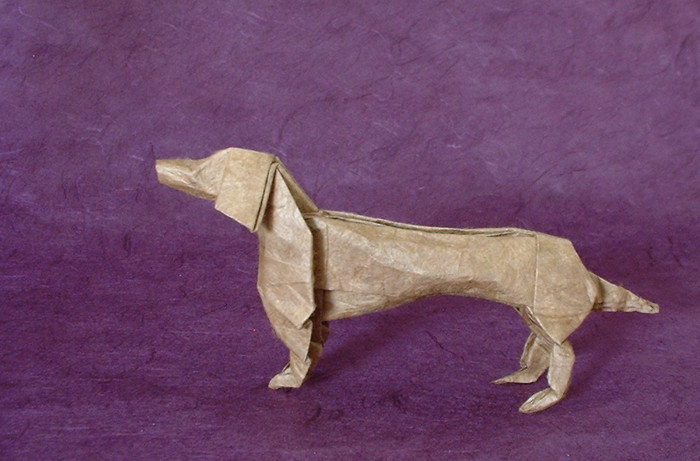 Origami Dachshund by John Montroll Folded from a square of Lokta paper by Gilad Aharoni on giladorigami.com