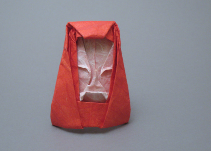Origami Daruma doll by Kawai Toyoaki Wet-folded from a square of double-sided Unryu paper by Gilad Aharoni on giladorigami.com