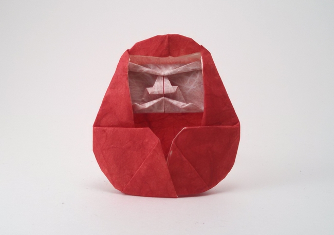 Origami Daruma doll by Masamichi Noma Folded from a square of double-sided Unryu paper by Gilad Aharoni on giladorigami.com