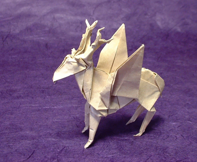 Origami Deer with wings by Jun Maekawa folded by Gilad Aharoni on giladorigami.com