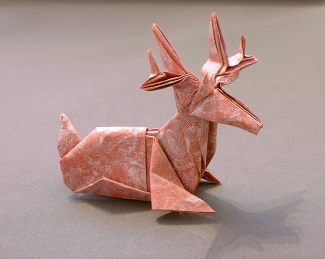 Origami Deer by Jun Maekawa Folded from a square of art paper by Gilad Aharoni on giladorigami.com