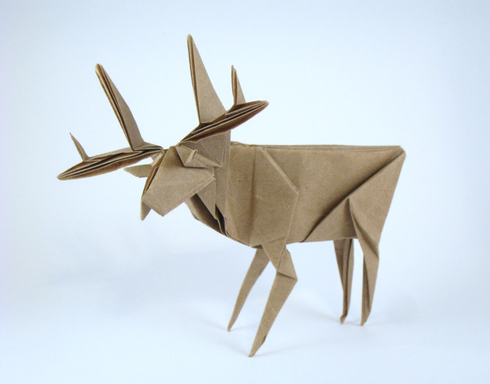Origami Deer by Jun Maekawa Folded from a rectangle of Trimaco masking paper by Gilad Aharoni on giladorigami.com