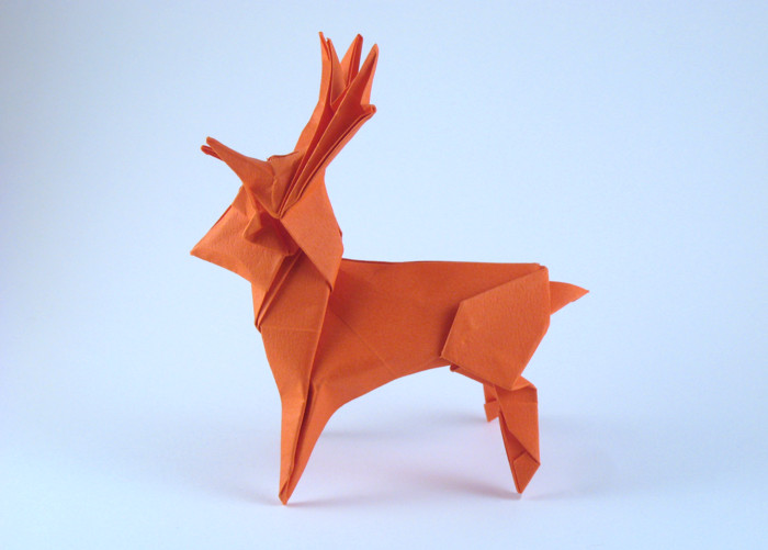 Origami Deer by Seiji Nishikawa Folded from a square of Tant paper by Gilad Aharoni on giladorigami.com