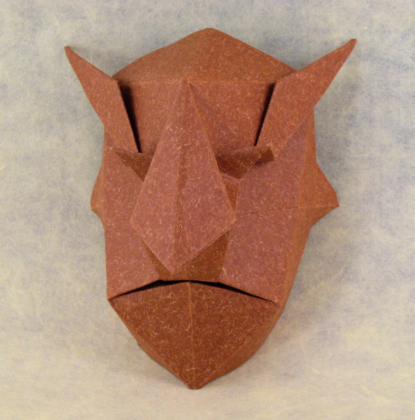 Origami Devil mask by Jun Maekawa Folded from a square of Speckle-design paper by Gilad Aharoni on giladorigami.com