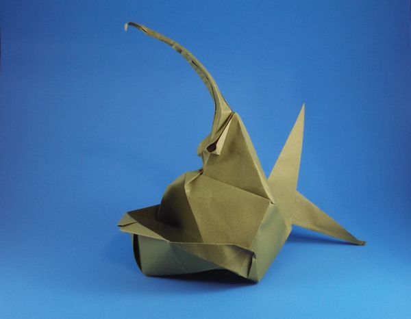 Origami Devil fish by Yuri Shumakov Folded from a square of Tant paper by Gilad Aharoni on giladorigami.com