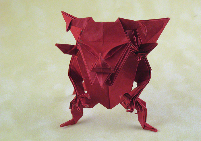 Origami Devil by Jun Maekawa Folded from a square of Trimaco masking paper (painted) by Gilad Aharoni on giladorigami.com