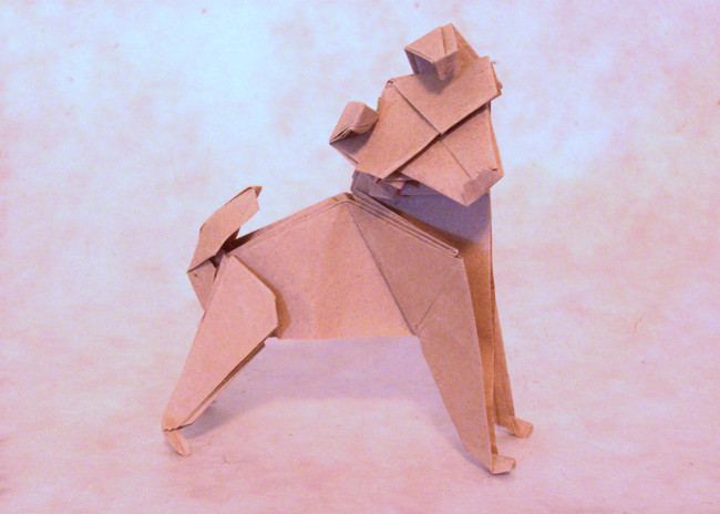 Origami Dog by Nicolas Terry Folded from a square of thin brown wrapping paper by Gilad Aharoni on giladorigami.com