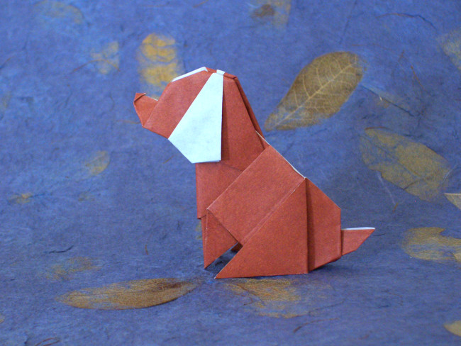 Origami Beagle by Ryo Aoki Folded from a square of kami by Gilad Aharoni on giladorigami.com
