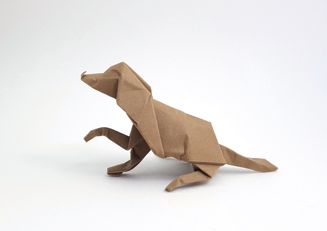 Origami Dog by David Brill folded by Gilad Aharoni on giladorigami.com