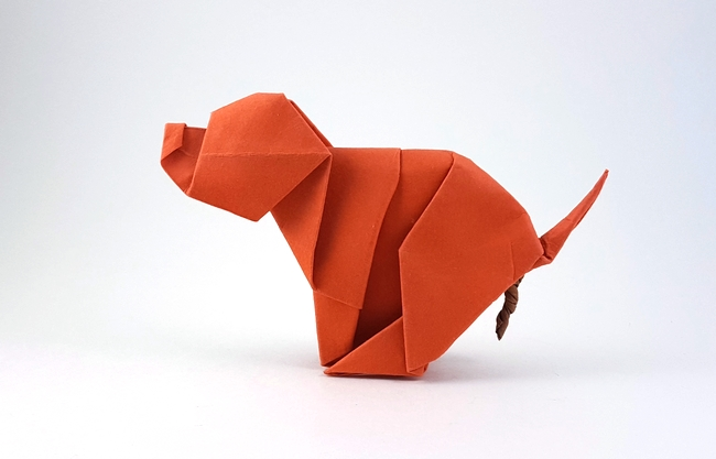 Origami Dog - liberating by Luis Fernandez Perez folded by Gilad Aharoni on giladorigami.com