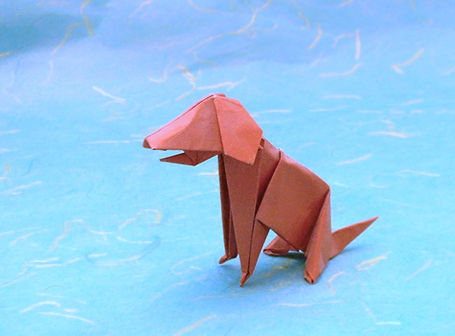 Origami Dog by John Montroll Folded from a square of origami paper by Gilad Aharoni on giladorigami.com