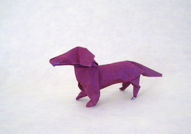 29 Square Origami Dog By John Montroll Wet Folded From A Of Double Mulberry Paper
