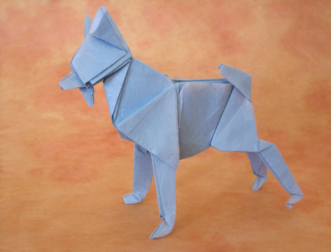 Origami Dog by Miyajima Noboru Folded from a square of unryu paper by Gilad Aharoni on giladorigami.com