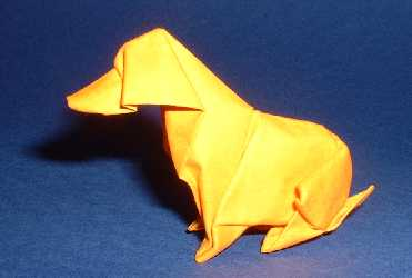 Origami Dog by Akira Yoshizawa Wet-folded from a square of 160gr Canson art paper by Gilad Aharoni on giladorigami.com
