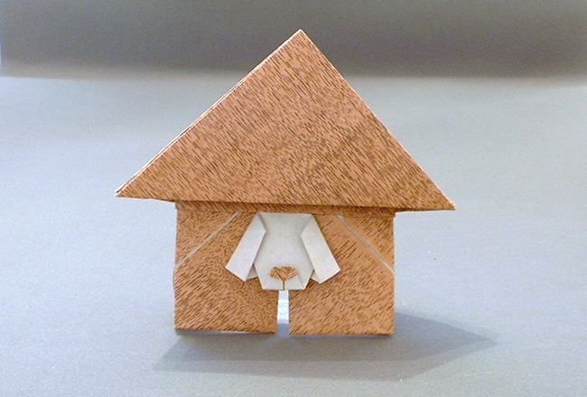 Origami In the doghouse by Stephen Weiss folded by Gilad Aharoni on giladorigami.com