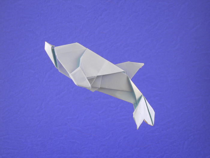Origami Dolphin by Seo Won Seon (Redpaper) Folded from a square of printing paper by Gilad Aharoni on giladorigami.com