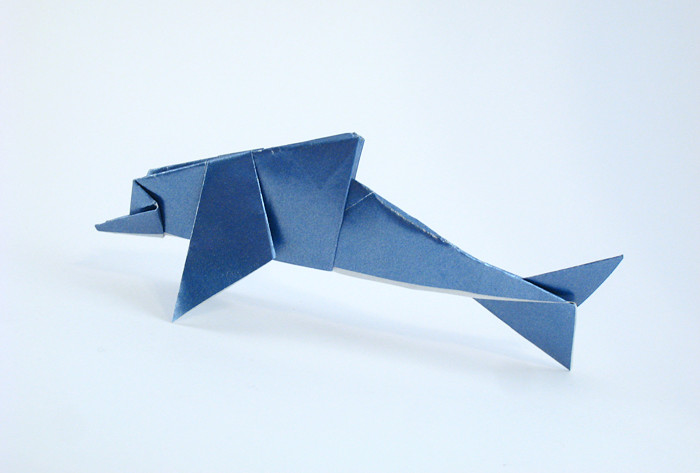 Origami Dolphin by Nick Robinson Folded from a square of metallic origami paper by Gilad Aharoni on giladorigami.com