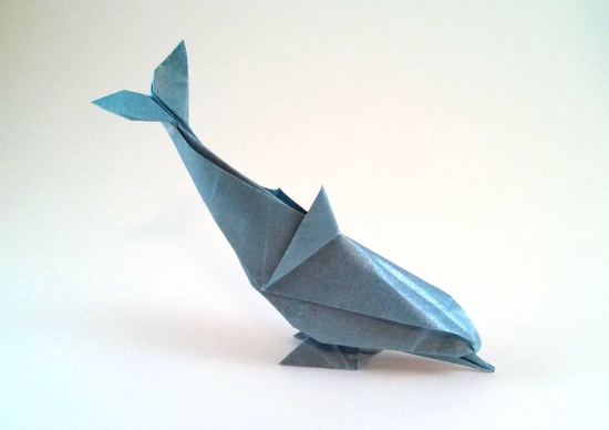 Origami Dolphin By Gerard Ty Sovann Folded From A Square Of Nicolas Terrys Tissue Foil