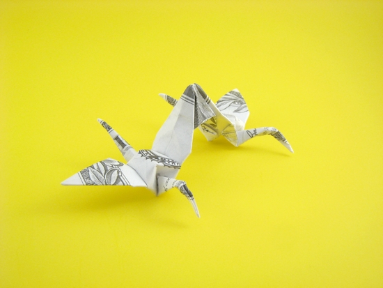 Origami Crane - double by Won Park folded by Gilad Aharoni