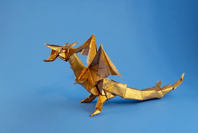 161 Square Origami Fiery Dragon By Kade Chan Folded Gilad Aharoni On Giladorigami