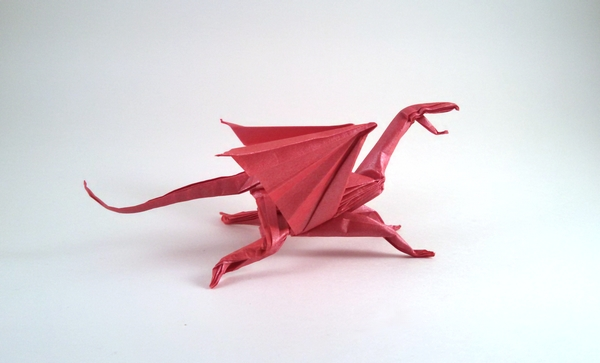 Origami Dragon by Matthew Green Folded from a square of Nicolas Terry's tissue foil by Gilad Aharoni on giladorigami.com