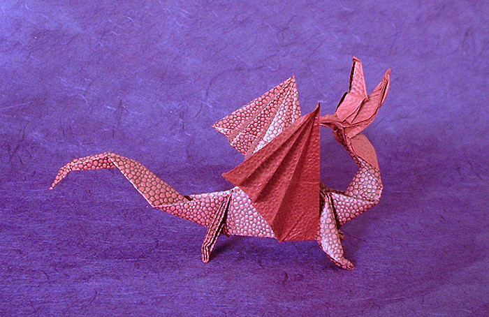 Origami KNL Dragon By Robert J Lang Folded From A Square Of Lizard Skin