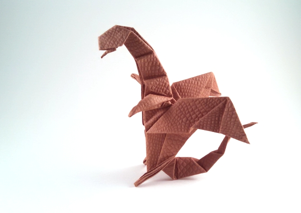 Origami Dragon by Mark W. Kennedy Folded from a square of shizen handmade paper by Gilad Aharoni on giladorigami.com