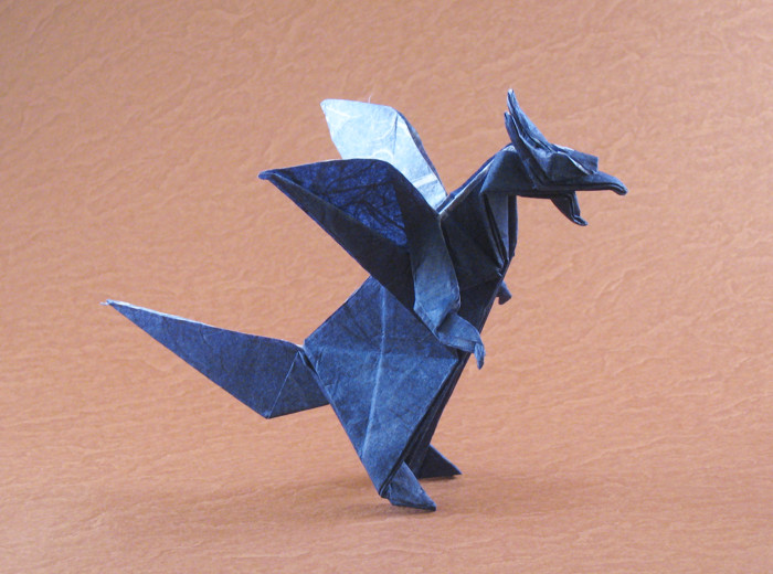 Origami Dragon by Jun Maekawa Folded from a square of double-sided Unryu paper by Gilad Aharoni on giladorigami.com
