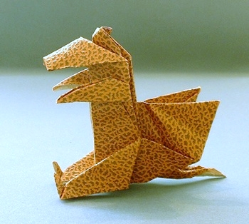Origami Dragon - sitting by Peter Budai folded by Gilad Aharoni on giladorigami.com