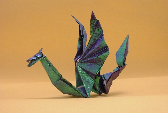 Origami Sea serpent dragon by Tom Stamm folded by Gilad Aharoni on giladorigami.com
