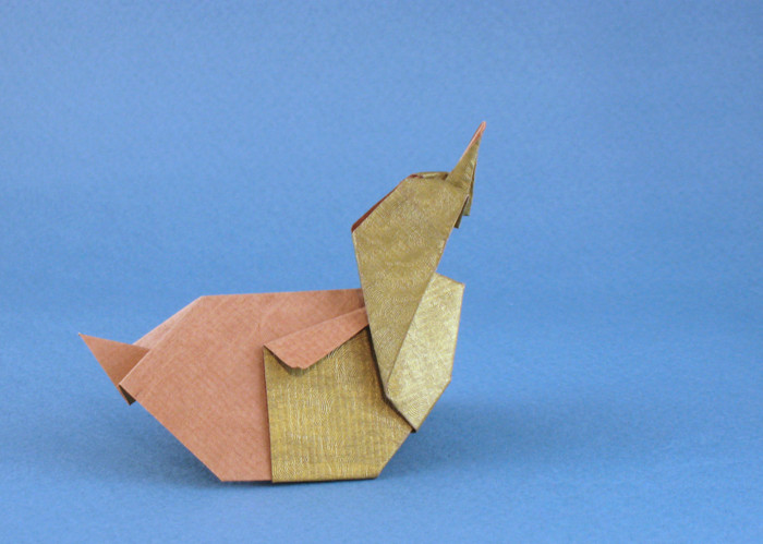 Origami Duck by Akiko Ishikawa Folded from a square of scrap-booking paper by Gilad Aharoni on giladorigami.com