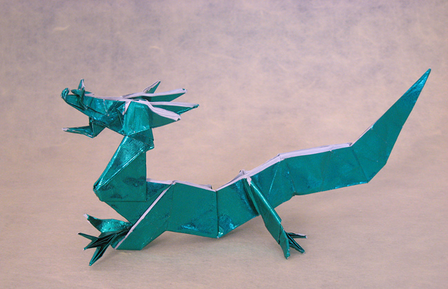 Origami Eastern dragon by Jun Maekawa Folded from a square of Japanese foil by Gilad Aharoni on giladorigami.com